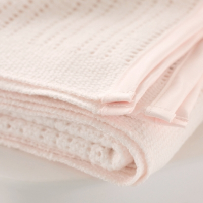 Satin Edged Pram Baby Blanket - Pink