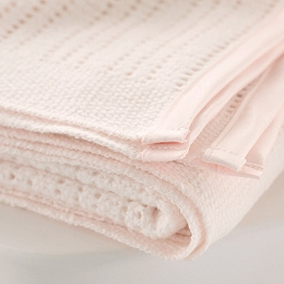 Satin Edged Cellular Baby Cot Blanket - Pink