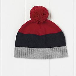 Boys Colour Block Pompom Hat