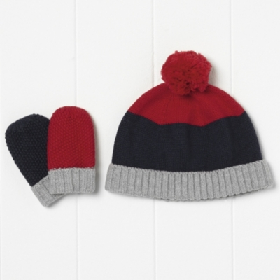 Boys Color Block Pompom Hat