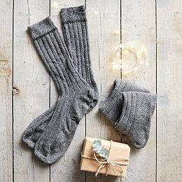 Men's Cashmere Blend Mouliné Socks - Charcoal Marl