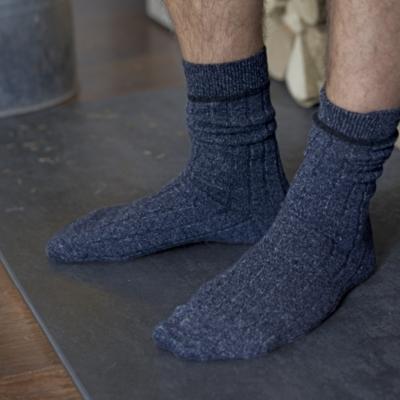 Men's Cashmere Blend Mouliné Socks - Navy