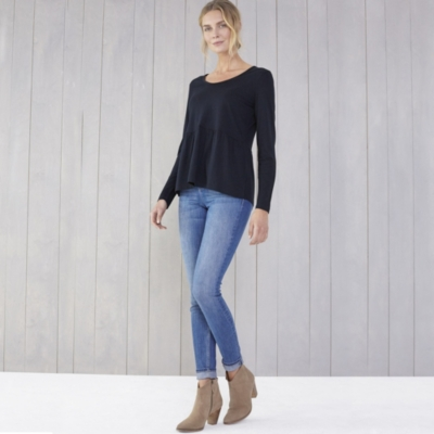 Cashmere Mix Long Sleeve Peplum T-Shirt