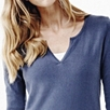 Contrast Trim Henley Sweater