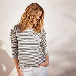 Cotton-Linen Stripe Sweatshirt