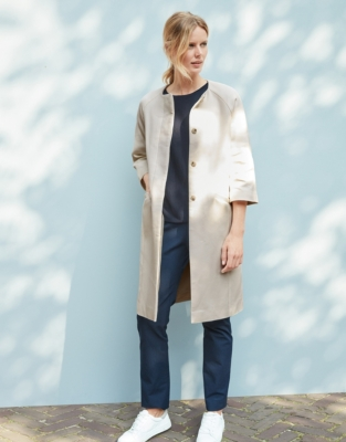Cotton Collarless Coat