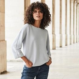 Cotton Boxy Sweater - Chalk Blue