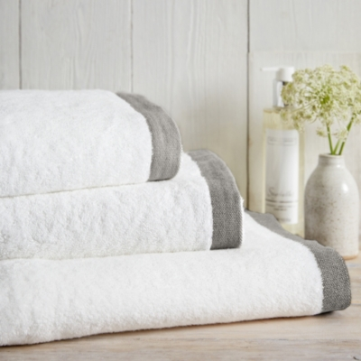 Color Border Towels - White Charcoal