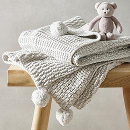 Unisex Cotton-Cashmere Textured Blanket