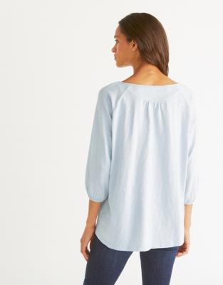 Cotton Boho Top - Pale Blue