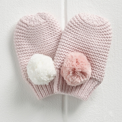 Girls Contrast Pom Pom Mittens Little White Company