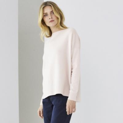 Chevron Ribbed Boat Neck Sweater - Whisper Pink