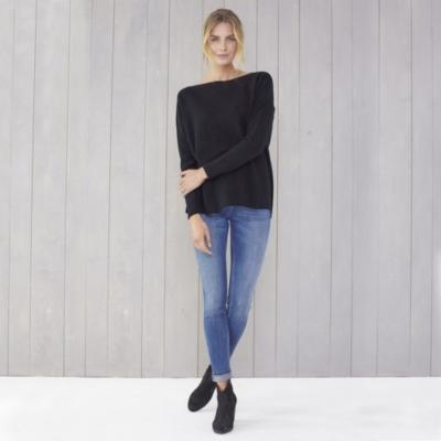 Chevron Ribbed Boat Neck Sweater - Black