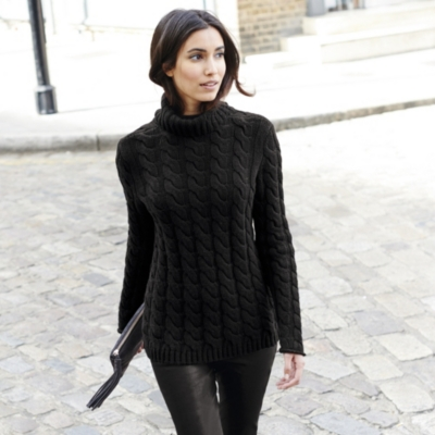 Cable Roll Neck Sweater