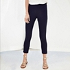 Cropped Side Zip Pants - Navy