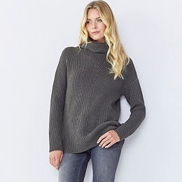 Chunky Roll Neck Ribbed Sweater - Clay