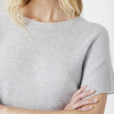 Cashmere Ribbed V Back Sweater