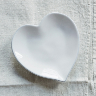 Porto Stoneware Heart Side Plate & Porto Stoneware Heart Dinner Plate | Tableware | The White Company UK