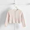 Pink Cropped Cable Cardigan