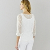 Cross Stitch Gathered Neck Blouse - Ivory