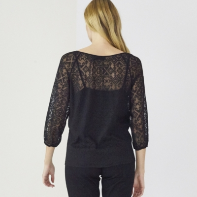 Cross Stitch Gathered Neck Blouse - Black