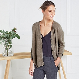 Cashmere Side Split Cardigan