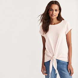 Cotton Slub Tie Front T-Shirt - Pale Pink