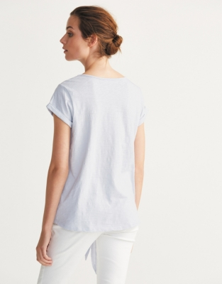 Cotton Slub Tie Front T-Shirt - Soft Blue