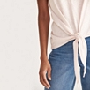 Cotton Slub Tie Front T-Shirt - Pale Pink