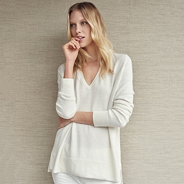 Cashmere Side Split V-Neck Sweater
