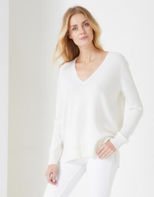 Cashmere Side Split V-Neck Sweater