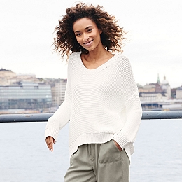 Chunky Stitch Cocoon Jumper - Porcelain