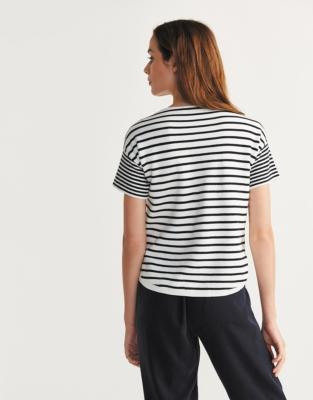 Cotton Short Sleeve Stripe Sweater