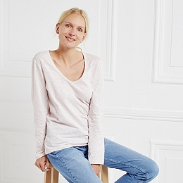 Cotton Long Sleeve T-Shirt - Pale Pink