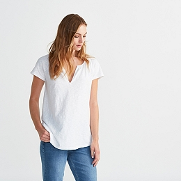 Cotton Slub Notch Neck T-shirt