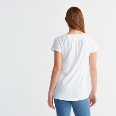Cotton Slub Notch Neck T-shirt