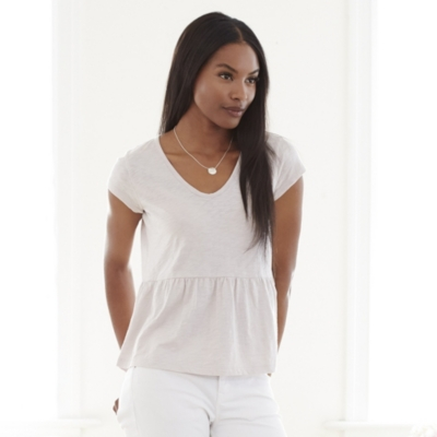 Slub Cotton Peplum T-Shirt - Ash Rose