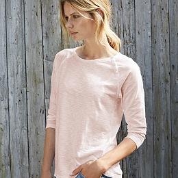 Cotton Raglan Button T-Shirt - Pale Pink