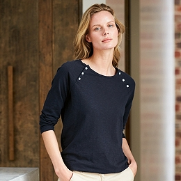 Cotton Raglan Button T-Shirt - Navy