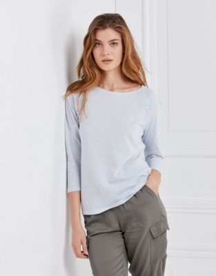 Cotton Raglan Button T-Shirt - Pale Blue