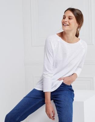 Cotton Raglan Button T-Shirt - White
