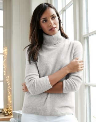 Cashmere Roll-Neck Sweater - Pale Gray Marl