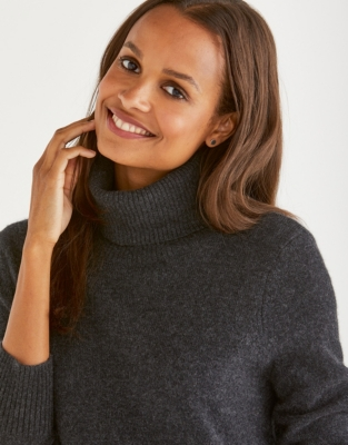 Cashmere Roll-Neck Sweater - Charcoal Marl