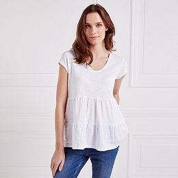 Cotton Tiered Peplum T-Shirt