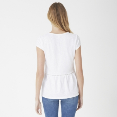 Cotton Slub Peplum Top - White