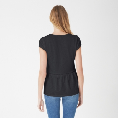 Cotton Slub Peplum Top - Black