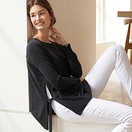 Wool-Cashmere Tie Side Sweater
