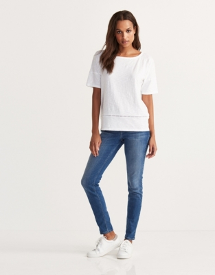 Cotton Slub Lace Trim T-Shirt