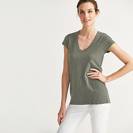 Cotton Slub V Neck T-shirt - Sage