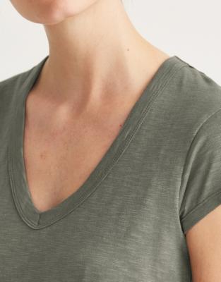 Cotton V-Neck T-shirt - Sage